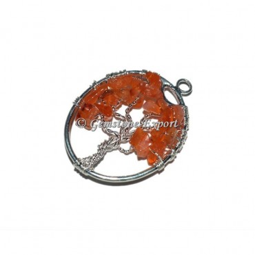 Carnelian Silver Tree Of Life Pendants