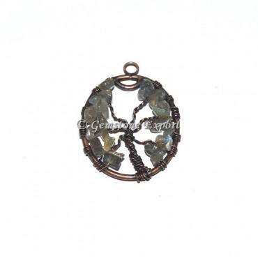 Labradorite Copper Tree Of Life Pendants