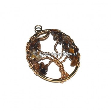 Tiger Eye Golden Tree Of Life Pendants
