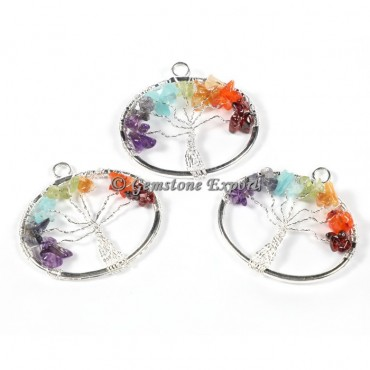 Round Tree Of Life Silver Pendants