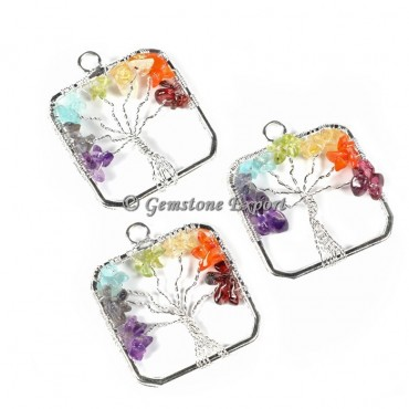 Curved Square  Tree Of Life Silver Pendants