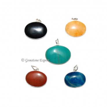 Mix Agate Oval Pendants