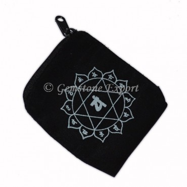 Chakra Sanskrit Pouch With Silver Print
