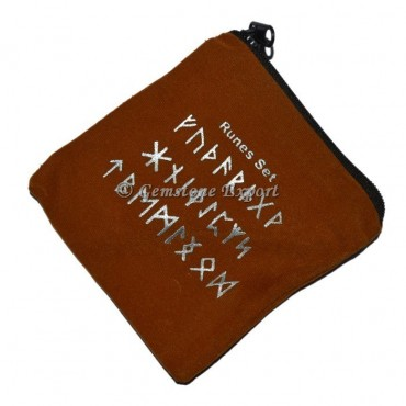 Runes Symbol Printed Brown Pouch