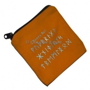 Runes Symbol Printed Yellow Pouch