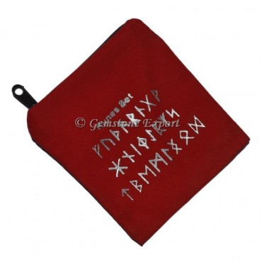 Runes Symbol Printed Red Pouch