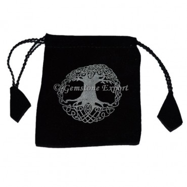 Tree Of Life Printed Black Pouch