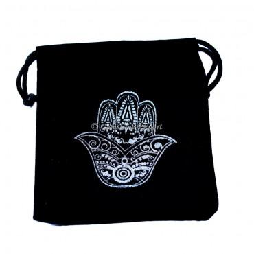 Hamsa Symbol Silver Print Black Velvet Pouch