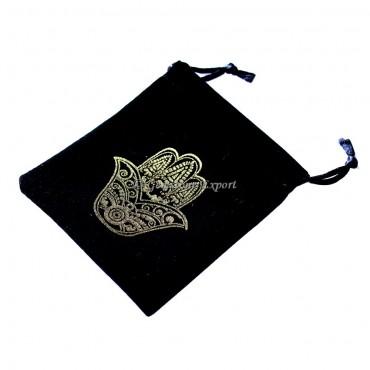 Hamsa Symbol Golden Print Black Velvet Pouch