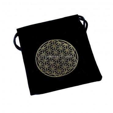 Flower Of Life Design Golden Print Black Velvet Pouch