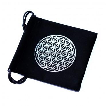 Flower Of Life Design Silver Print Black Velvet Pouch