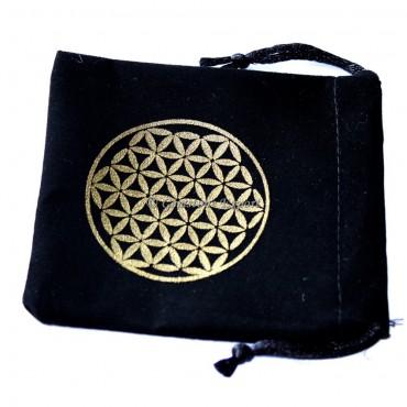 Flower Of Life Design Golden Print Black Velvet Pouch 2