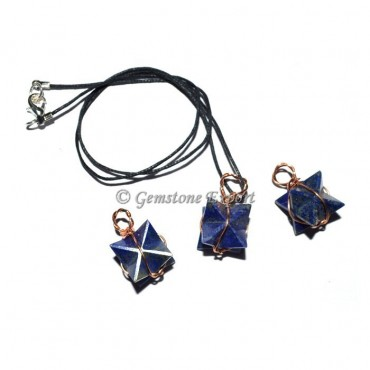 Lapis Lazuli Wire Wrapped Merkaba Star Pendants