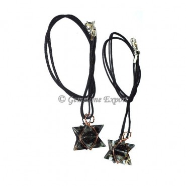 Black Tourmaline Orgone Wire Wrapped Merkaba Star Pendants