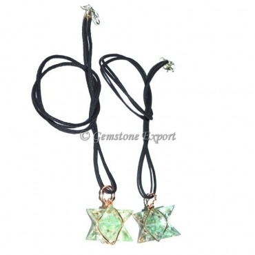 Fluorite Orgone Wire Wrapped Merkaba Star Pendants