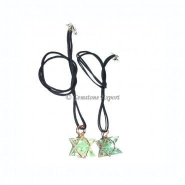 Fluorite Orgone Wire Wrapped Merkaba Star Pendants