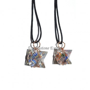 Seven Chakra Wire Wrapped Merkaba Star Pendants
