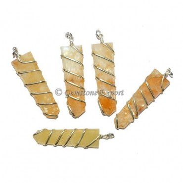 Golden Quartz Flat Pencil Wire Wrap Pendant