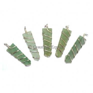 Green Aventurine Flat Pencil Wire Wrap Pendant