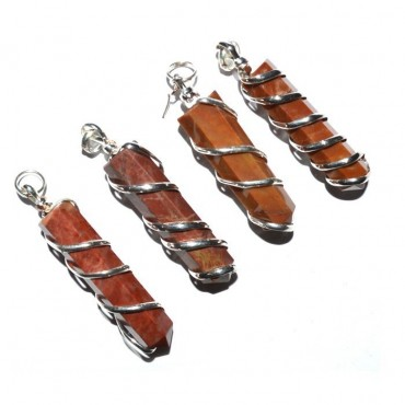 Red Jasper Wire Wrapped Pencil Pendant