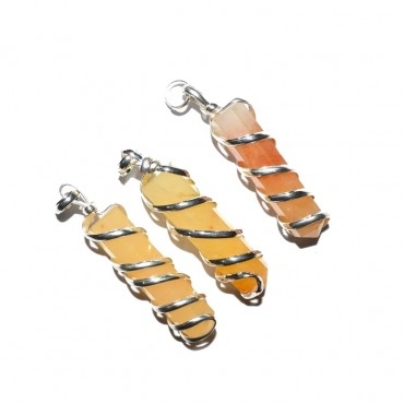 Golden Quartz Wire Wrapped Pencil Pendant