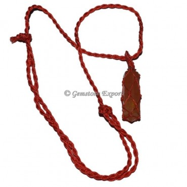 Carnelian Red Cord Wire Wrap Pendants