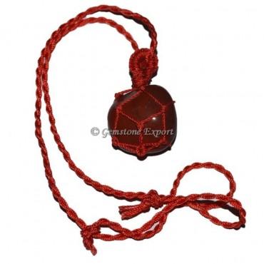 Carnelian Tumbled Stones Cord Wire Wrap Pendants