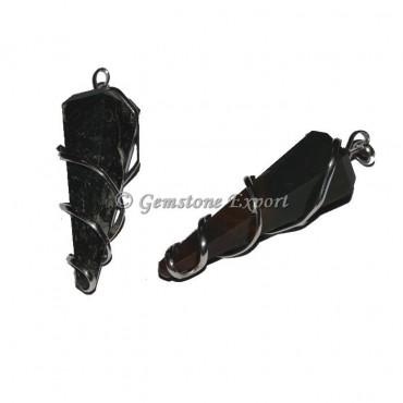 Black Tourmaline 6 Faceted Wire Wrap Pendant