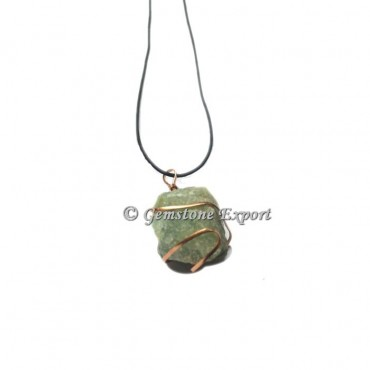 Green Aventurine hammered Copper wire Wrap Pendants