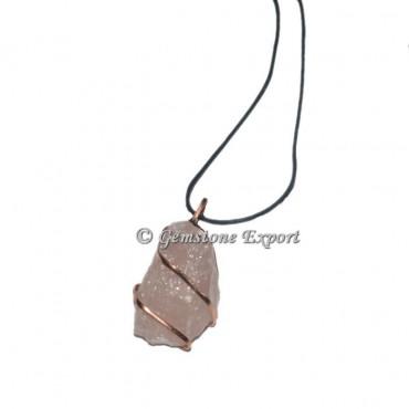 Rose Quartz Hammered Copper Wire Wrap Pendants