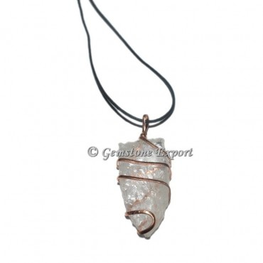 Crystal Quartz Pendulums Copper Wire Wraped Pendants