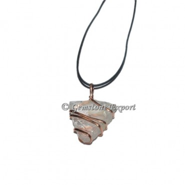 Crystal Quartz Triangle Coper Wire Wraped Pendants