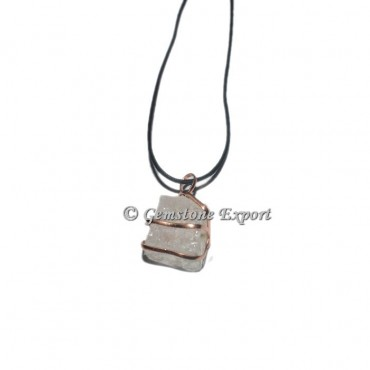 Crystal Quartz Cube Copper Wire Wraped Pendants