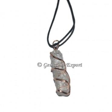 Crystal Quartz Stick Copper Wire Wrap Pendants