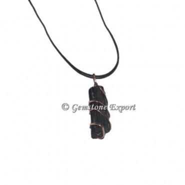 Black Tourmaline Natural Copper wire Wrap Pendants
