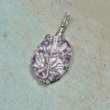 Lepidolite Silver Tree Wire Wrapped Pendant