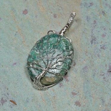 Green Jade Tree Wire Wrapped Pendant