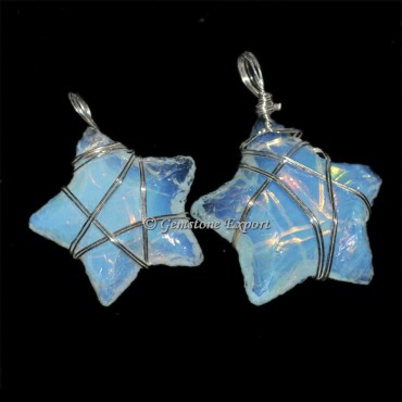 Opalite Star Wire Wrap Pendant