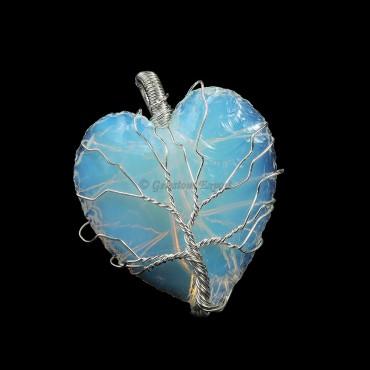 Opalite Heart Wire Wrap Pendant