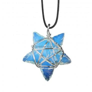 Opalite Star Wire Warp Pendant