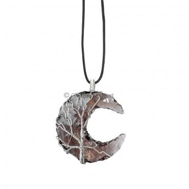 Black Obsidian Moon Wire Wrap Pendant