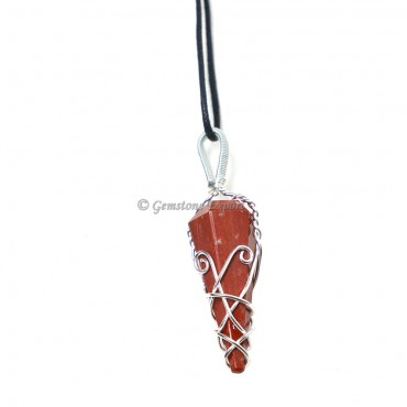 Red Jasper Six Faceted Wire Wrap Pendant