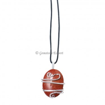 Red Jasper Oval  Wire Wrap Pendant