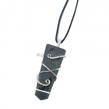 Black Tourmaline Flat Pencil Wire Wrap Pendant