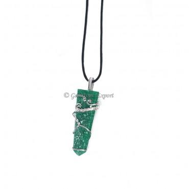 Dark Green Aventurine Flat Pencil Wire Warp Pendant