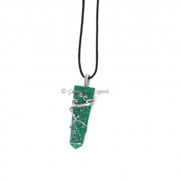 Dark Green Aventurine Flat Pencil Wire Wrap Pendant