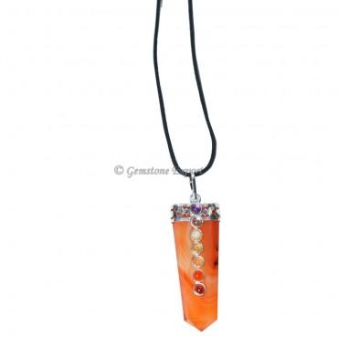 Red Carnalian Seven Chakra Wire Warp Pendant