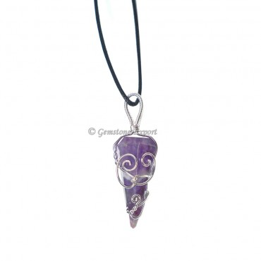 Six Faceted Amethyst Wire Warp Pendant