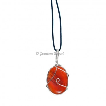 Red Carnelian Wire Wraped Pendant