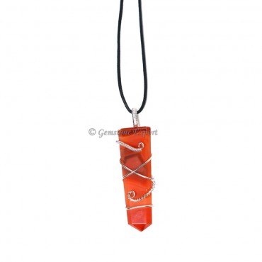 Red Carnelian Wire Wraped Pencil Pendant